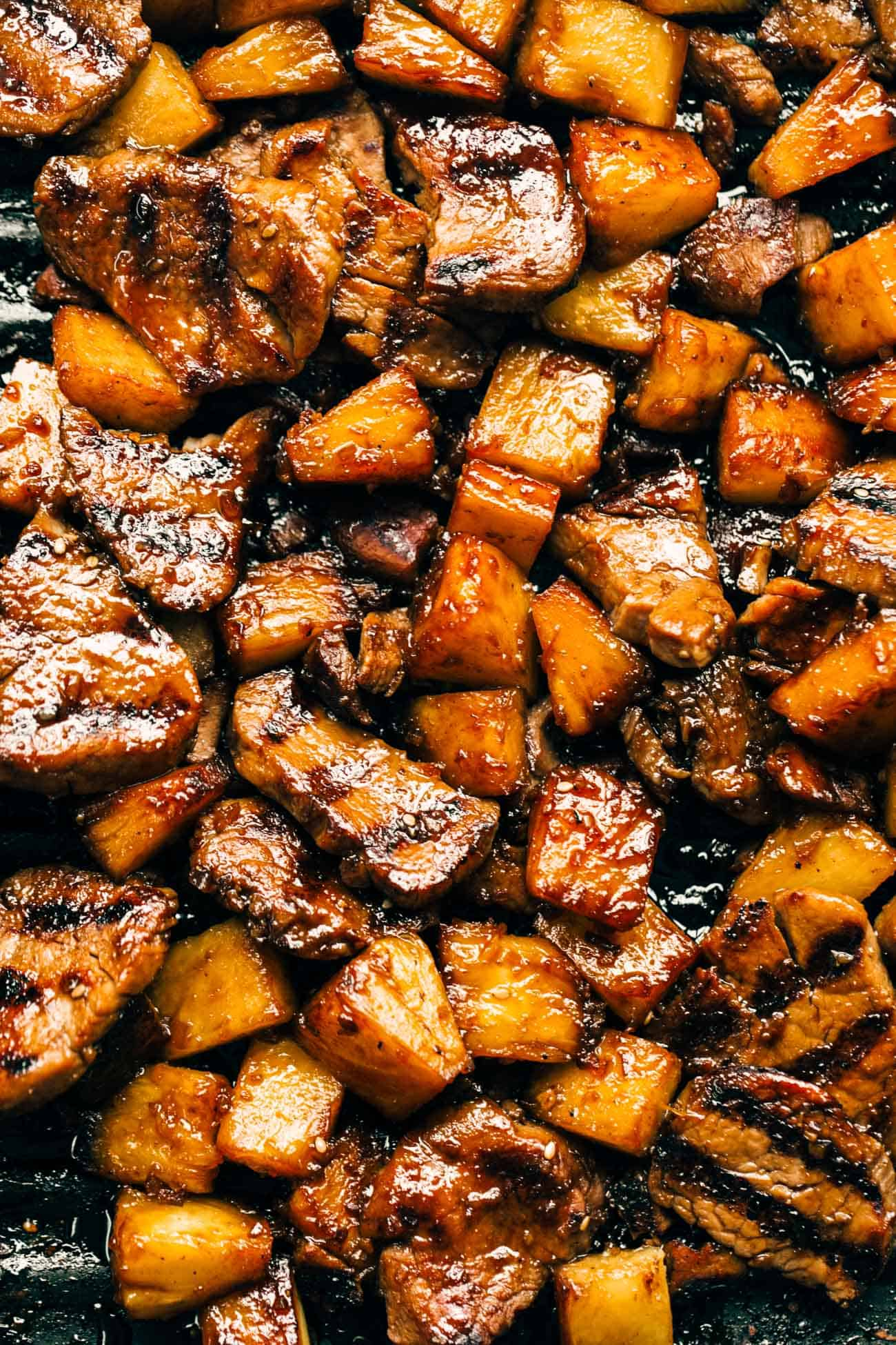 Close-up of pineapple and pork.