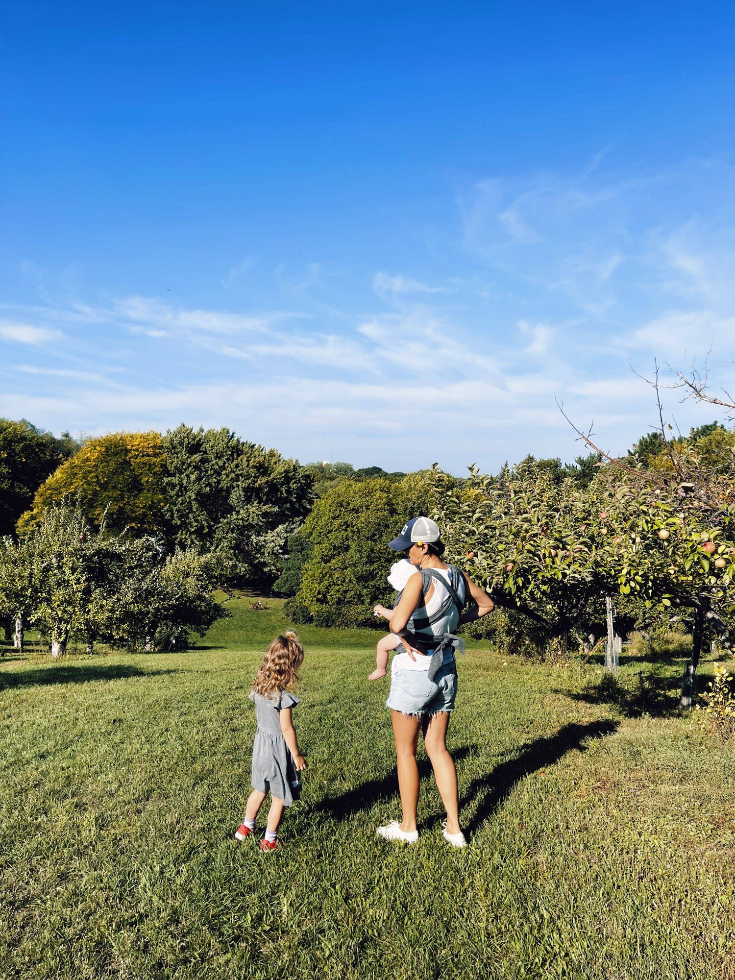 Woman and kids at an apple orchard.